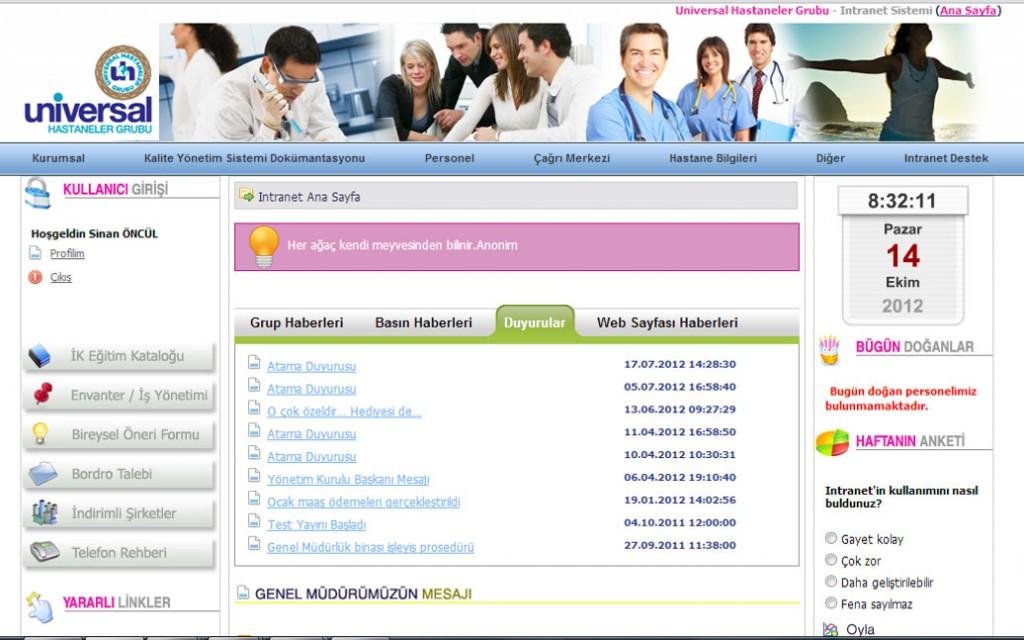 UHG Intranet Portal İntranet – Portal Nedir? Olması gerekenler