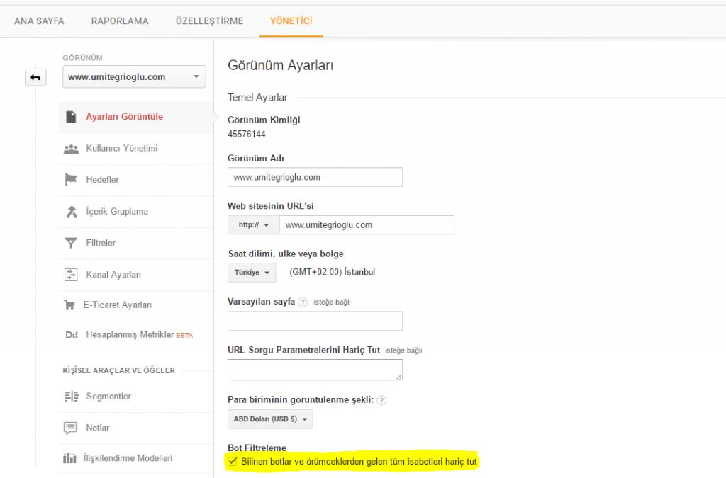 1 Google Analytics istatistiklerini BOT'lara teslim etmeyin