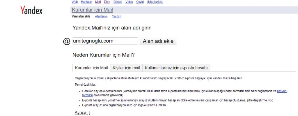 Yandex Kurumsal Mail Yandex Kurumsal(Bireysel) Mail Kurulumu
