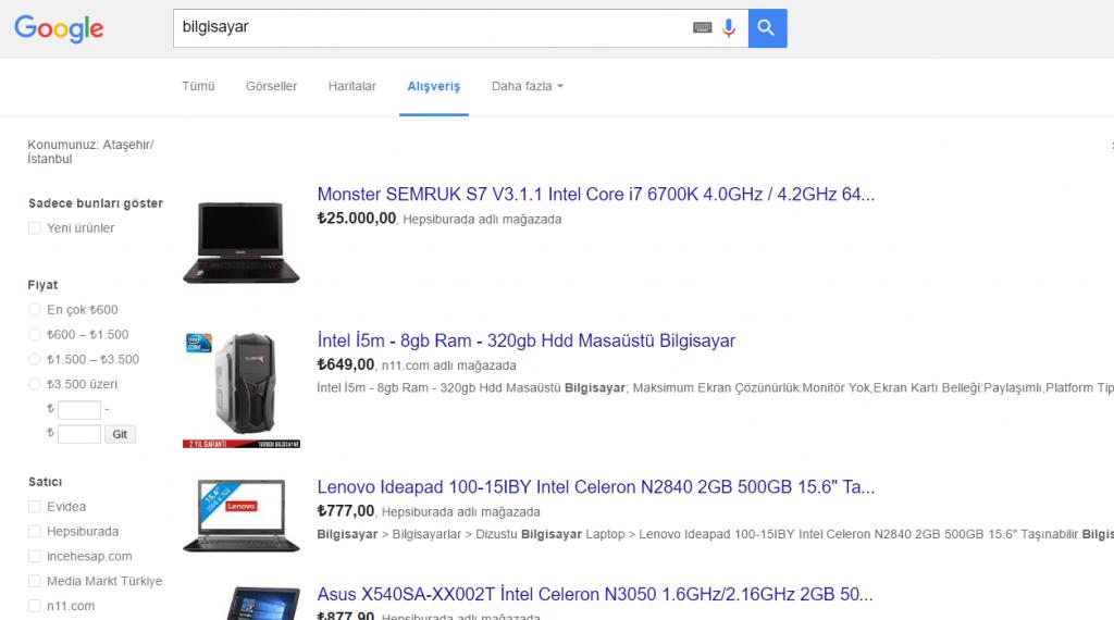 Google_Alisveris1 Elim, Ayağım, Google. Arama Yapmayı Biliyor muyuz?