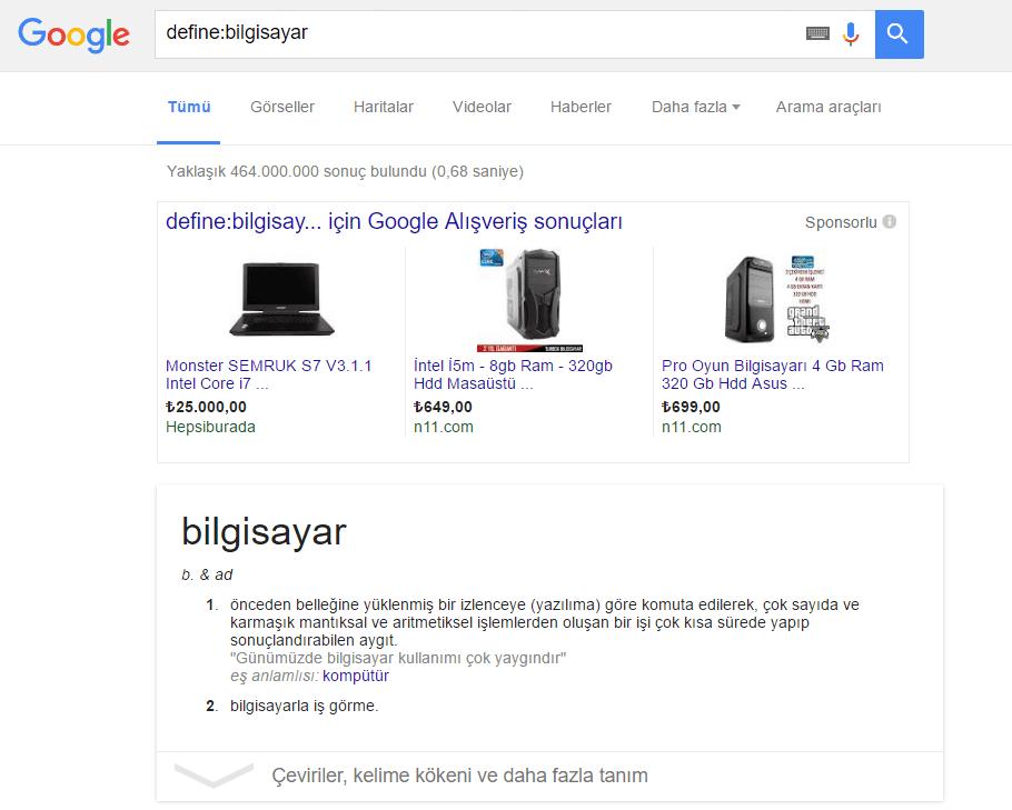 Google_Define Elim, Ayağım, Google. Arama Yapmayı Biliyor muyuz?