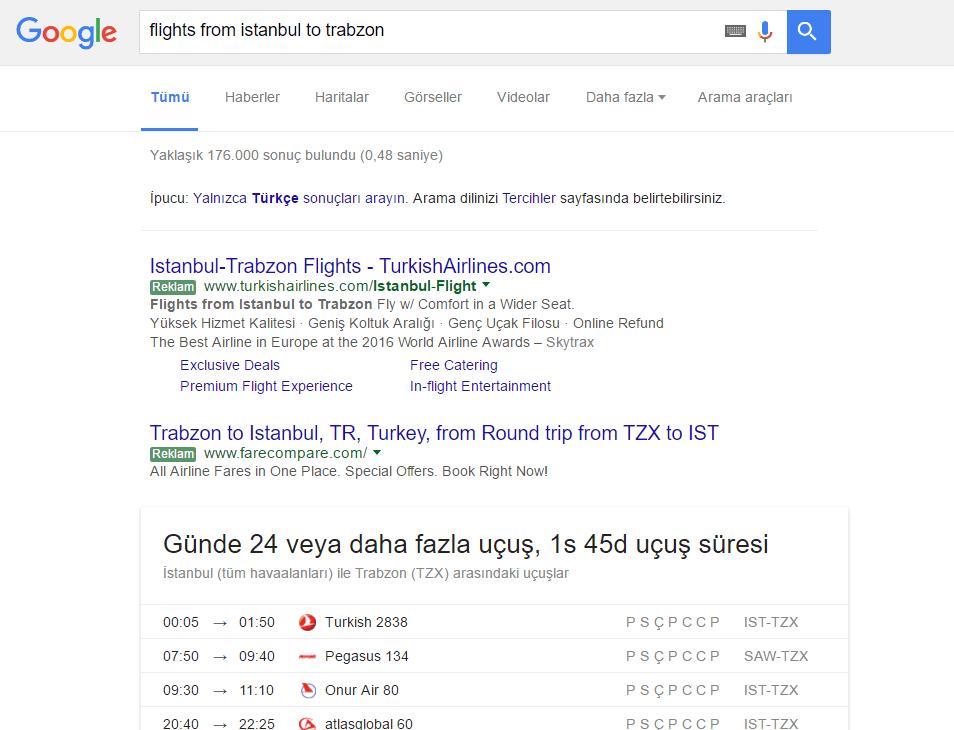 Google_Flight Elim, Ayağım, Google. Arama Yapmayı Biliyor muyuz?