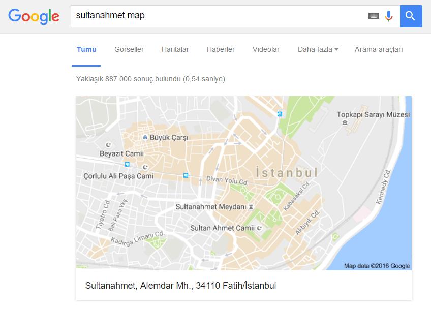 Google_Map Elim, Ayağım, Google. Arama Yapmayı Biliyor muyuz?