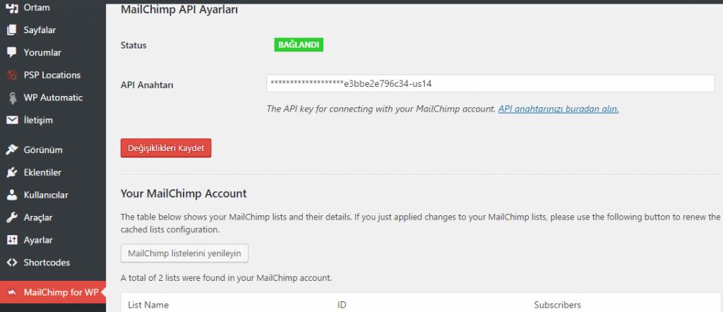 mailchimp6 Ücretsiz Mailing Servisi MailChimp ve WordPress Entegrasyonu