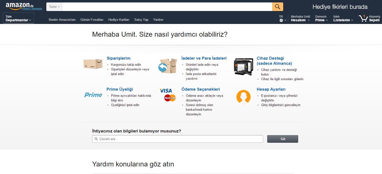 Amazon Sayfa-2 amazon.de Amazon.de Türkçe Desteği ve Ücretsiz Kargo