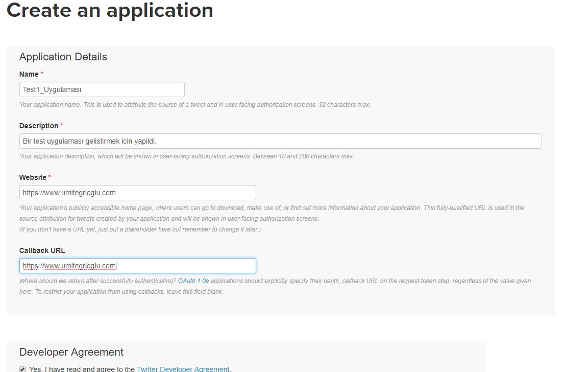 Twitter için API Key ve Access Token Oluşturma
