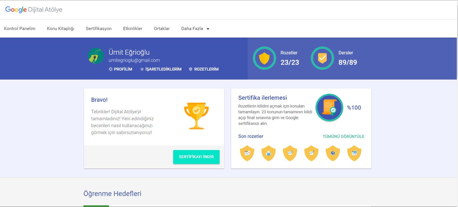 Google Dijital Atölye Sertifikası'nı ben aldım. Sınava nasıl girilir ve sertifika nasıl alınır?