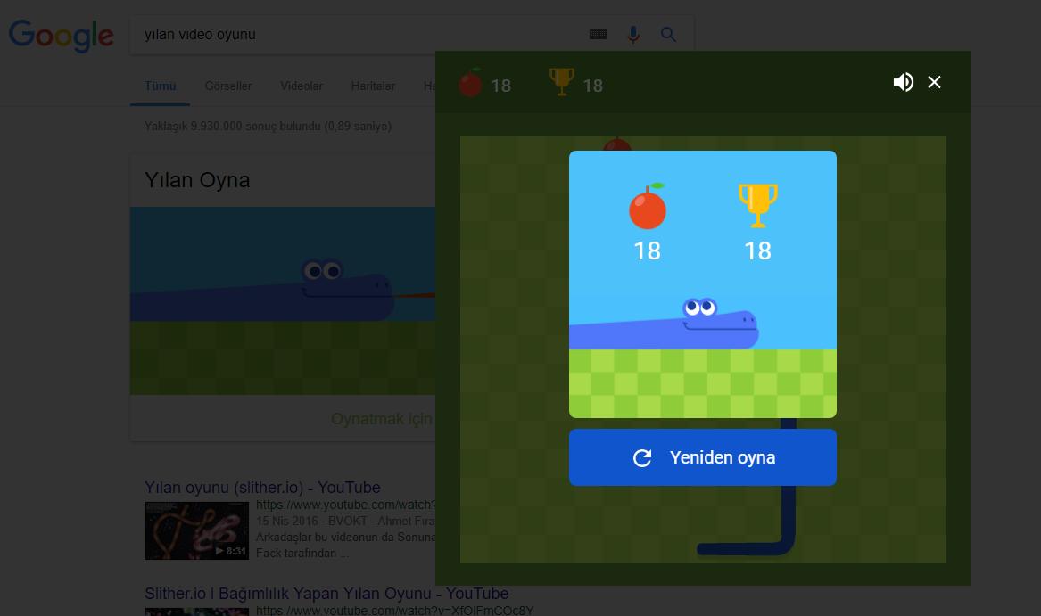 Google'den Efsane Yılan Oyunu